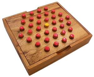 Solitaire Hexagon 37 Pegs - Strategy Wooden Game