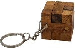 Cube Lock Key Chain - Wooden Puzzle Brainteaser