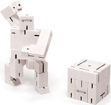 Cubebot Micro Ninja White - Wooden Puzzle Robot Toy