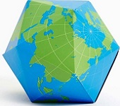 Dymaxion Folding Globe Blue and Green Brain Teaser Magnet Puzzle