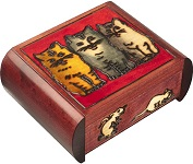 Three Cats Secret Wooden Puzzle Box