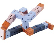 Puzzle Boy (Orange, Purple and Blue) -  Twisting cube Wooden puzzle