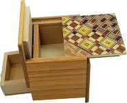 2 Sun 4 Steps Cube With Secret DRAWER Yosegi / natural Wood - Japanese Puzzle Box