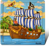 Pirate Ship - Jigsaw 21 Pieces Wooden Puzzle