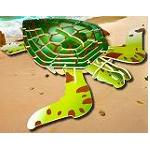 Green Turtle - Colored 3D Jigsaw Woodcraft Kit Wooden Puzzle