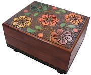 Floral Carved Secret Wooden Puzzle Box