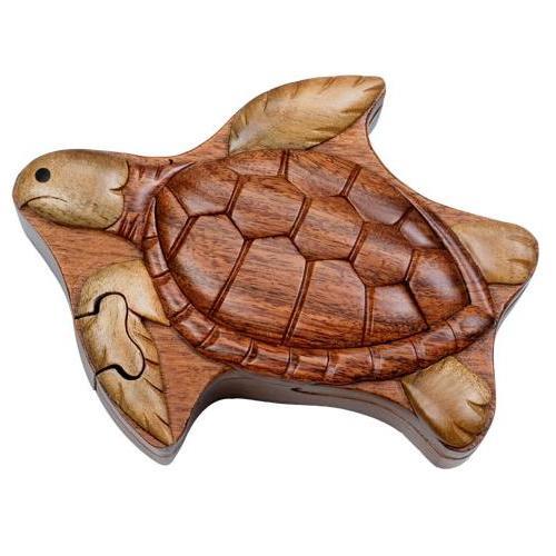 Sea Turtle Secret Wooden Puzzle Box