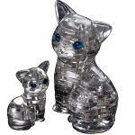 3d Crystal Puzzle Cat with Kitten Black Color