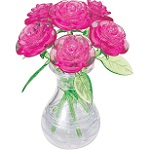 3d Crystal Puzzle Roses In Vase - Pink Roses