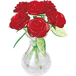 3d Crystal Puzzle Roses In Vase -Red Roses