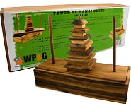 Tower of Hanoi Chedi - Wooden Brain Teaser Puzzle