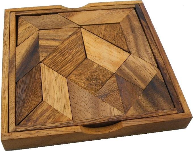 Complex Tangram Wooden Brainteaser Puzzle