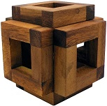 Cover Sliding Cage Cube - Wooden Brain Teaser Puzzle