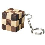 Snake Cube Key Chain - Wooden Puzzle Brainteaser