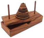 Tower of Hanoi 9 Rings Wooden Brain Teaser Puzzle