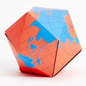 Dymaxion Folding Globe Blue and Orange Brain Teaser Magnet Puzzle