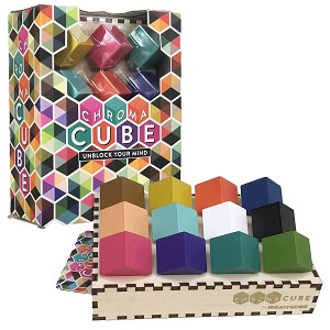 Chroma Cube Logic Game Puzzle with 25 Card Puzzles for Adults, IQ Game, Award Winning Brain Teaser