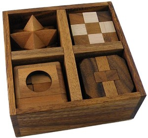 5 Wooden Puzzles Gift Set In A Wooden Box