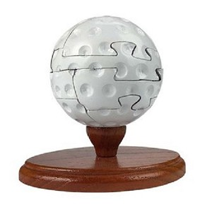 Golf Ball 3d Wooden Puzzle with 50 Sports Trivia Cards