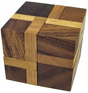 Inverse Cube Brain Teaser Wooden Puzzle