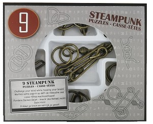 Steampunk Puzzles Set Gray Box - 9 Disentanglement Metal Puzzles